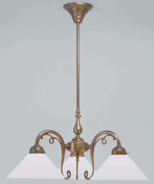 Deckenleuchte / Kronleuchter, 3-armig, Messing handpatiniert, Glas weiß glänzend, Höhe 87 cm, Breite 64 cm, 230 V, 3 x E27 60 W