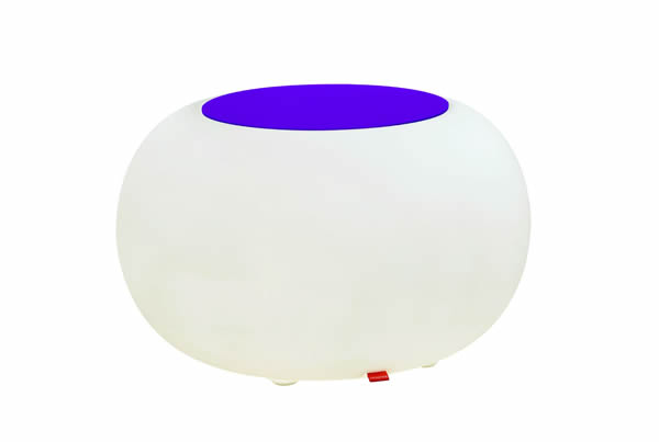 Moree Bubble, LED beleuchteter Sitzhocker, mit violetem Sitzkissen, Ø 68 cm, H 41 cm, Oberfläche Ø 40 cm, Polyethylen, seidenmatt, weiß, mit E27 (230 V) Vielfarben LED, mit Fernbedienung, für Außen