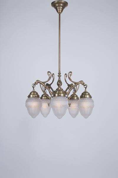 Deckenleuchte / Kronleuchter, 5-armig, Messing handpatiniert, Glas kristallmatt, Höhe 94 cm, Breite 54 cm, 230 V, 5 x E27 60 W