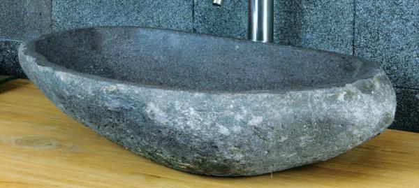 Aufsatzwaschbecken aus Flussstein, ca. B62,5 x T40 x H15,5 cm