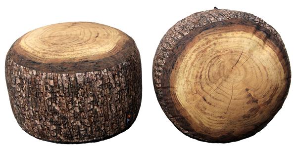 MeroWings Forest Stump Sitzkissen, Pouf, Ø 60 cm, Höhe 35 cm, mit originalgetreuem Fotodruck, für den Innenbereich