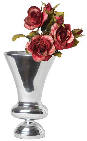 Kelchvase, aus Aluminium, hochglanzpoliert, in 2 Größen erhältlich
