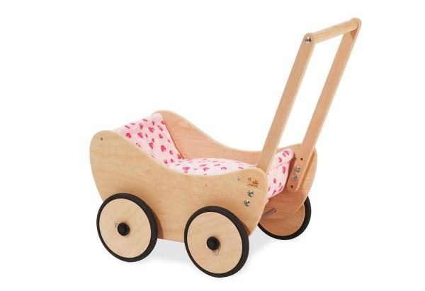 Pinolino Puppenwagen inkl. Bettzeug, rosa, aus Buche, massiv und unbehandelt, L 47 x B 35 x H 53 cm