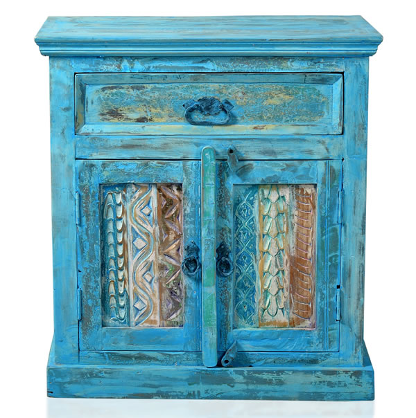 """Kommode / Schränkchen, """"Washed Look"""", Altholz, blau, B70 x T40 x H76 cm"""