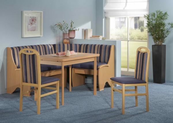 Truhen-Eckbankgruppe, Buche natur Dekor; Eckbank, 2 Stühle und Tisch mit Auszügen und Rundecken; Bezug: Mikrofaser Kombi blau; variabel aufbaubar