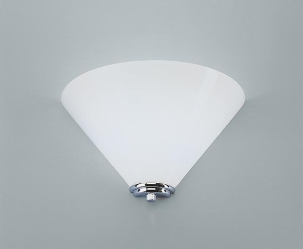 Wandleuchte, Messing verchromt, Glas weiß glänzend, Höhe 17 cm, Breite 29 cm, Ausladung 14 cm, 230 V, 1 x G9 40 W