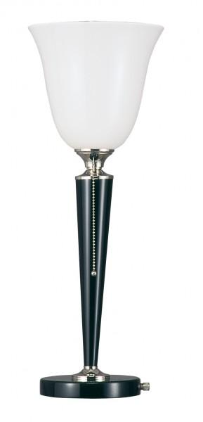 Tischleuchte, Art déco Stil, Messing vernickelt, Sockel u. Schaft schwarz lackiert, Höhe 57 cm, 230 V, E27 60 W