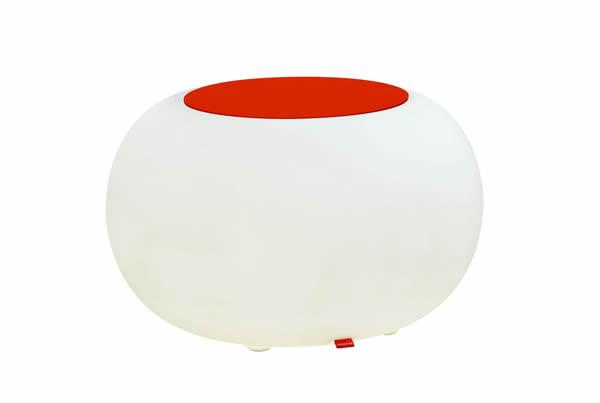 Moree Bubble, LED beleuchteter Sitzhocker, mit orangenem Sitzkissen, Ø 68 cm, H 41 cm, Oberfläche Ø 40 cm, Polyethylen, seidenmatt, weiß, mit E27 (230 V) Vielfarben LED, mit Fernbedienung, für Außen