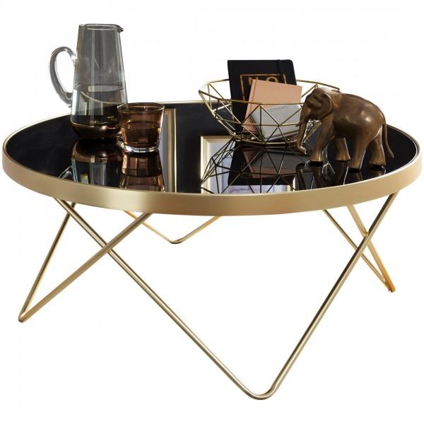Couchtisch Ø 82 cm Schwarz/matt, Gold, Beistelltisch Metall/Glas, Tisch mit Glasplatte, Ablagetisch modern, Großer Wohnzimmertisch, Glastisch mit Metallgestell