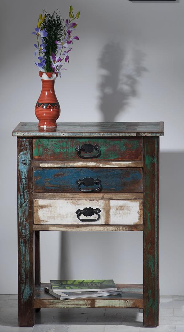 """Telefontisch / Beistelltisch, """"Vintage Look"""", Altholz, bunt, B60 x T32 x H79 cm"""