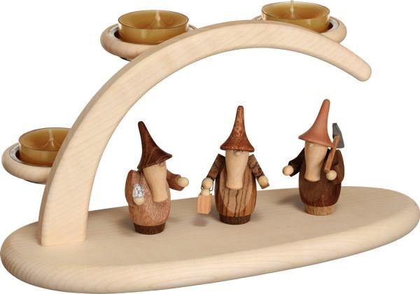 """Leuchterbogen / Kerzenhalter """"Gnome"""", aus Holz, natur, Breite 25 cm"""