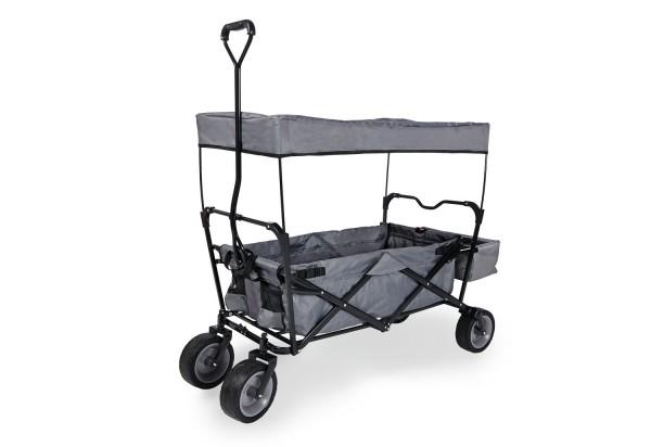 Pinolino Klappbollerwagen, mit Sonnendach und Ladefläche, schwarz / grau, aus Metall, schwarz lackiert und grauer Stoff, L 124 x B 59 x H 67 cm, mit Sonnendach H 102 cm, Ladefläche L 88 x B 63 x H 22 cm