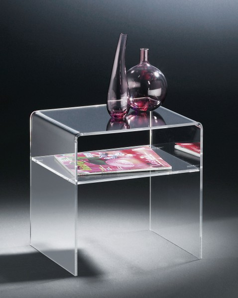Hochwertiger Acryl-Glas Beistelltisch, klar, 40 x 33 cm, H 35 cm, Acryl-Glas-Stärke 6 mm
