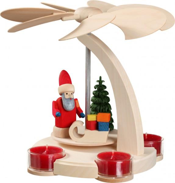 """Bogenpyramide / Weihnachtspyramide für Teelichter, """"Weihnachtsmann"""", aus Holz, natur, Höhe 18 cm"""