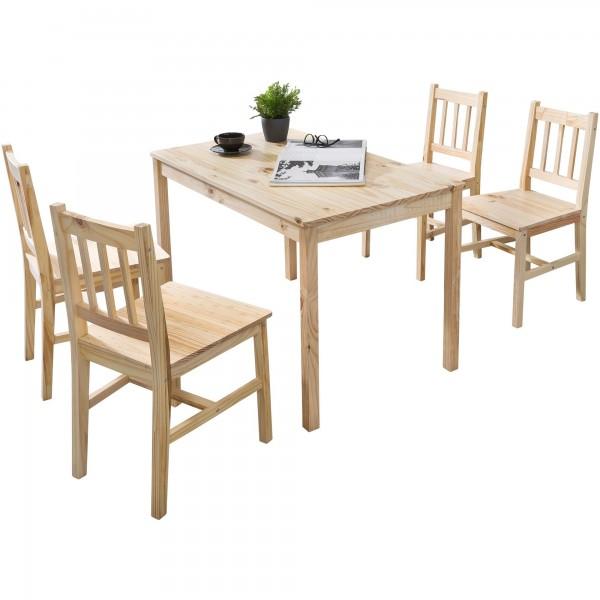 Esszimmer-Set, Kiefer-Holz Landhaus-Stil, Natur Essgruppe Tisch Stühle, Tischgruppe Esstischset, Esszimmergarnitur massiv
