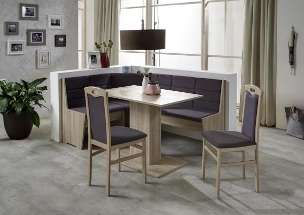 Truhen-Eckbankgruppe Eiche/Buche Sonoma Dekor; Eckbank, 2 Stühle und Säulentisch, Bezug: grau-braun, variabel aufbaubar