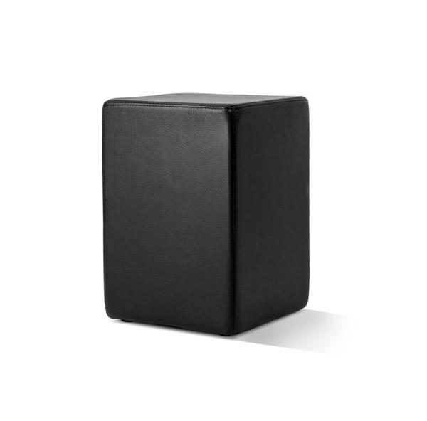 Pomp Lederhocker, echtes Leder, schwarz, B = 33 cm, T = 33 cm, H = 47,5 cm, in Stuhlhöhe mit komfortabler Polsterung