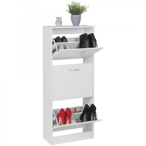 Moderner Schuhkipper / Schuhschrank, weiß, 3 Fächer, für ca. 18 Paar