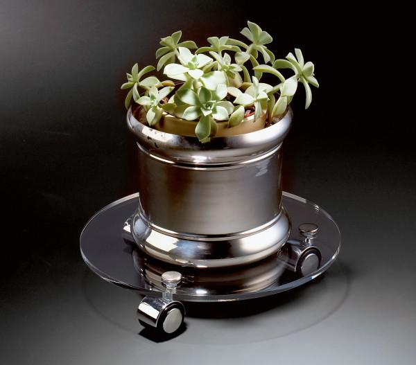 Hochwertiger Acryl-Glas Blumenrolli mit 3 Chromollen, klar, Ø 30 cm, Acryl-Glas-Stärke 8 mm