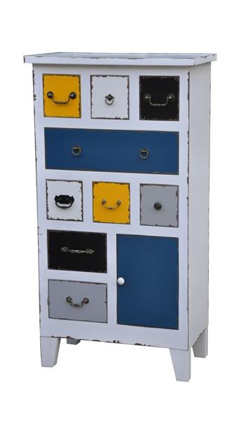 """Holzkommode """"Fun"""", Fronten bunt lackiert, Vintage-/Used-Look, 9 Schubladen und 1 Tür, B70 x H130 x T37 cm"""
