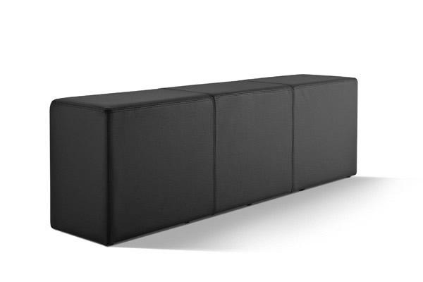 Pomp Bank, echtes Leder, schwarz, B = 150 cm, T = 33 cm, H = 47,5 cm, Sitzbank in Stuhlhöhe mit komfortabler Polsterung