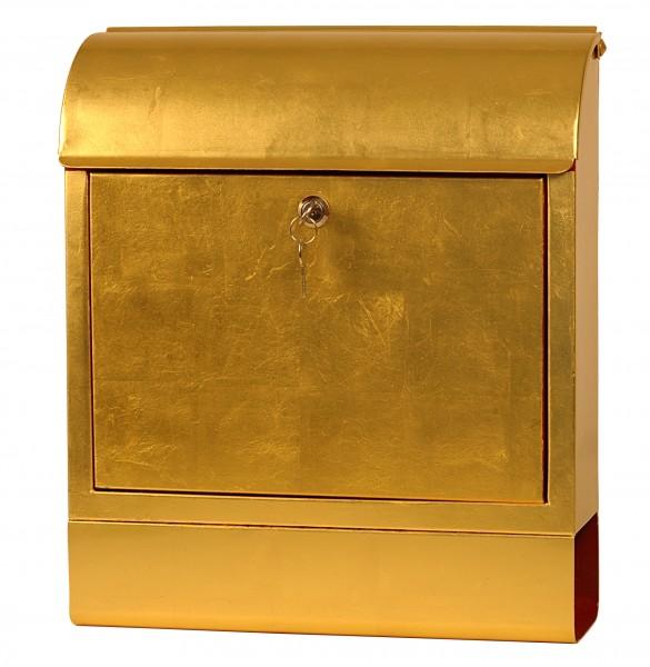 Exklusiver Design-Briefkasten mit Zeitungsrolle, Stahlblech mit 24 Karat Blattgold, Handarbeit, B38 x H45 x T12 cm