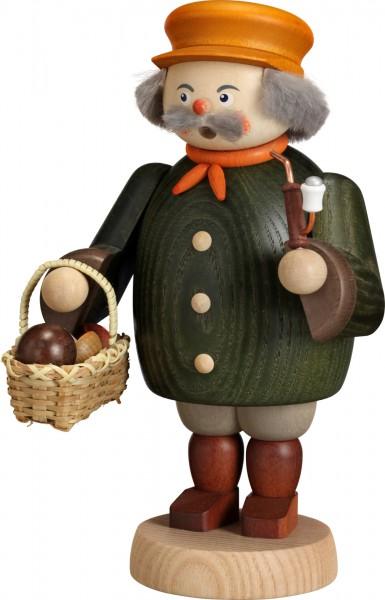 "Räucherfigur / Räuchermännchen ""Pilzsammler"", aus Holz, dunkelgrün, Höhe 19 cm"