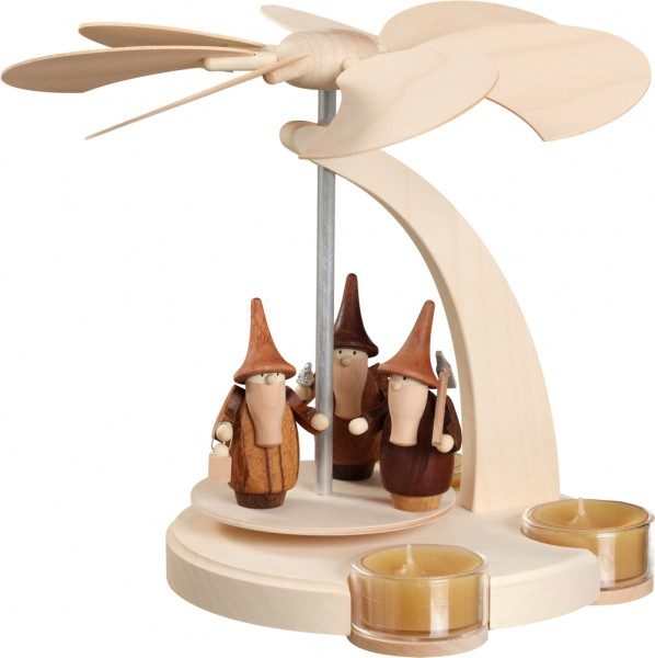 """Bogenpyramide / Weihnachtspyramide für Teelichter, """"Gnome"""", aus Holz, natur, Höhe 18 cm"""