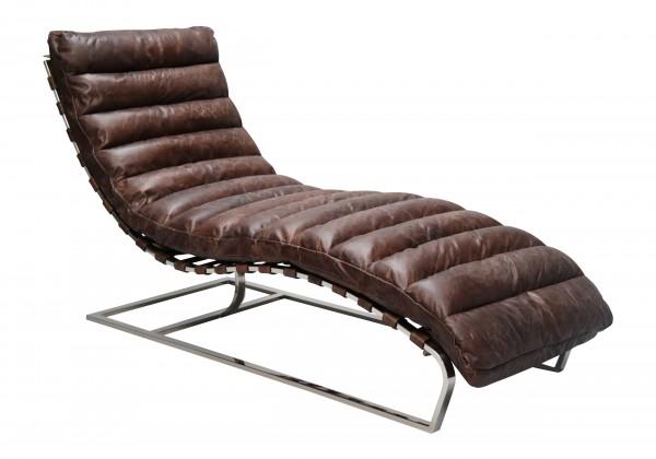 Klassisch-moderner Lounge Chair / Liegesessel, Vintage Design, Bezug Rindsleder, Gestell Edelstahl glänzend, Polsterung aus Schaumstoff, H 82 cm, B 59 cm, T 140 cm, in 4 verschiedenen Farben