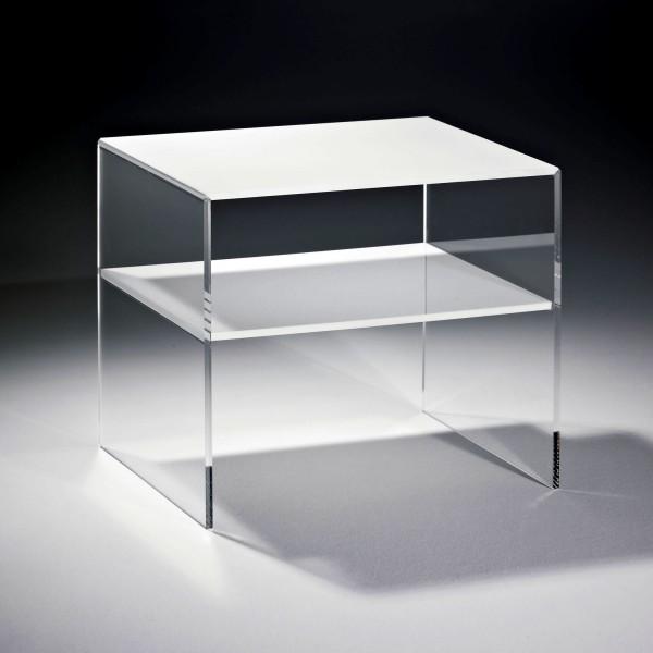 Hochwertiger Acryl-Glas Beistelltisch mit 1 Fach, Tischplatte und Unterboden weiß, Seiten klar, Acryl-Glas-Stärke 8 mm