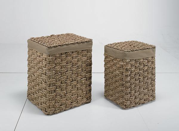 Körbe / Wäschesammler, 2er-Set, aus Zopfgeflecht, mit Deckel, hellbraun, in 2 verschiedenen Größen,
