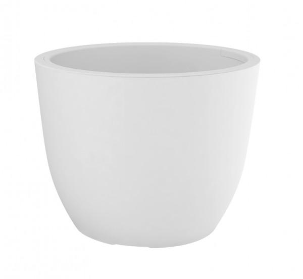 Blumentopf / Pflanztopf, Höhe 30 cm, Ø 38,3 cm, weiß, matt, mit herausnehmbarem Pflanz-Einsatz, für Innen und Außen, aus hochwertigem Polyethylenen