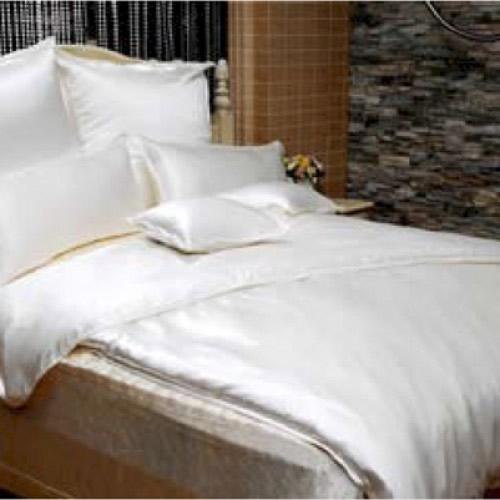 """Sichou Seiden-Bettwäsche """"Satin White Uni"""", eleganter Luxus-Seiden-Bettbezug in glänzendem Seidenweiß, hochwertig genäht und haltbar verarbeitet aus mittelschwerem Seidengewebe, mit echten Perlmutt-Knöpfen"""