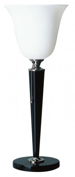Tischleuchte, Art déco Stil, Messing vernickelt, Sockel u. Schaft schwarz lackiert, Höhe 67 cm, 230 V, E27 60 W