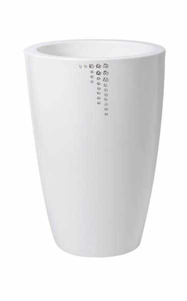 """Blumentopf / Pflanztopf Nicoli """"Talos"""" mit original Swarovski Kristallen, Motiv Symbol, Ø 33 cm, Höhe 70 cm, glänzend, 15 l Inhalt, für Innen und Außen, aus hochwertigem Polyethylen, weiß oder grün"""