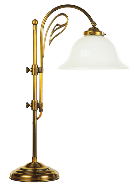 Tischleuchte, Landhaus Stil, Messing antik-handpatiniert (Altmessing), Höhe 66 cm, 230 V, E27 60 W