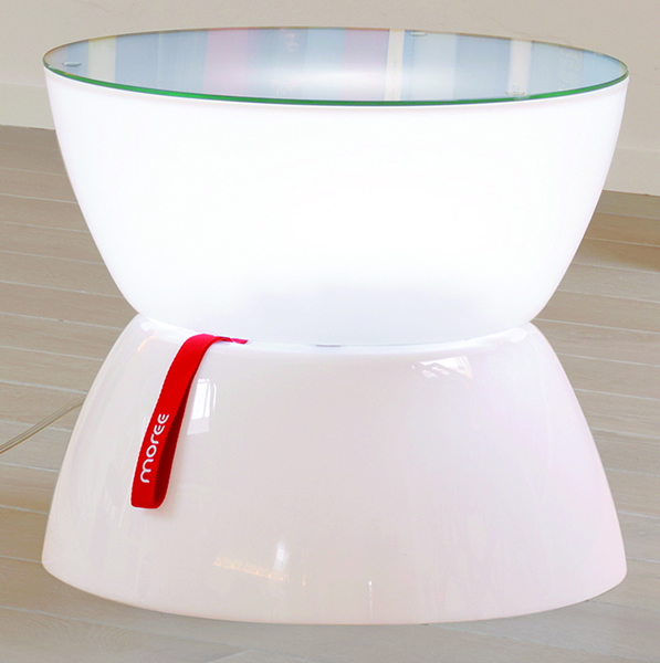 Moree Lounge Beistelltisch, Mini, beleuchtet, Ø 39 cm, H 33 cm, mit Glasplatte, ABS glänzend, weiß transzulent, mit E27 (230 V) Leuchtmittel (Standard- oder Energiesparlampe), für Innen
