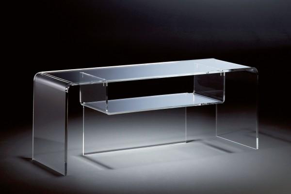 Hochwertiger Acryl-Glas TV-Tisch, TV-Rack, klar, 110 x 33 cm, H 38 cm, Acryl-Glas-Stärke 8 / 12 mm