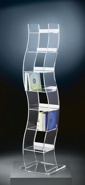 Hochwertiger Acryl-Glas CD Ständer / CD Regal, klar, 25 x 25 cm, H 100 cm, Acryl-Glas-Stärke 6 / 4 mm