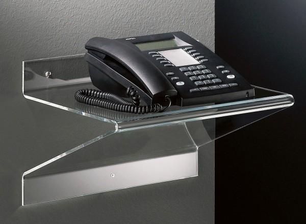 Hochwertiges Acryl-Glas Telefonboard / Laptop-Board, klar, 37 x 25 cm, H 25 cm, Acryl-Glas-Stärke 5 mm