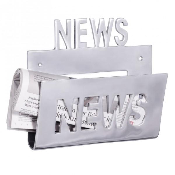 """Zeitungshalter / Wanhalter für Zeitschriften als Unikat aus Aluminium, Handarbeit, silber, Schriftzug: """"News"""""""