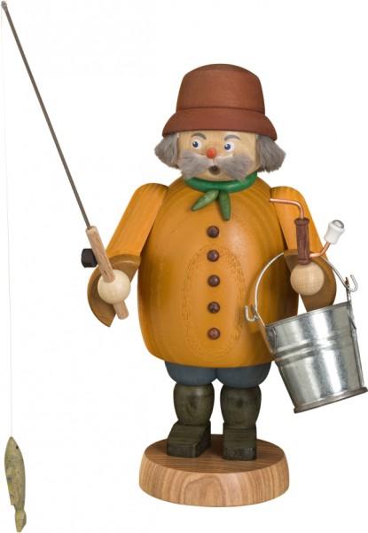 "Räucherfigur / Räuchermännchen ""Angler"", aus Holz, orange, Höhe 22 cm"