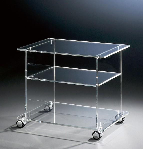 Hochwertiger Acryl-Glas TV-Wagen / TV-Tisch mit 4 Chromrollen, klar, 60 x 45 cm, H 51 cm, Acryl-Glas-Stärke 10 mm