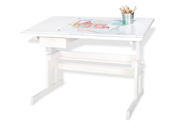 Pinolino Kinderschreibtisch, weiß, aus Fichte, vollmassiv und weiß lasiert, B 109 x T 58 x H 70 cm