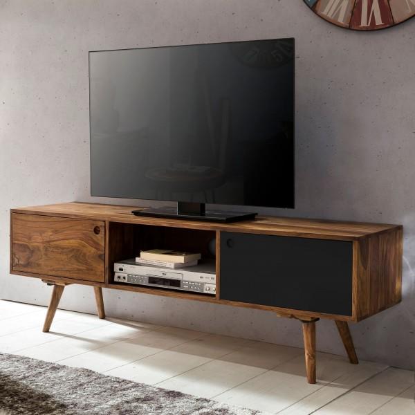 TV-Lowboard 140 cm Massiv-Holz Sheesham Landhaus 2 Türen & Fach, HiFi Regal 4 Füße, Fernseher Kommode Vintage