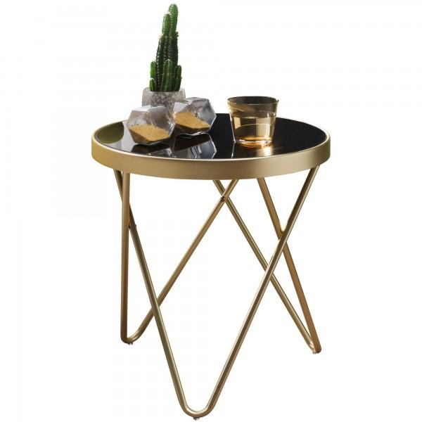 Design Beistelltisch, Couchtisch Rund Schwarz/Matt Gold, Designer Glas-Wohnzimmertisch modern, Glastisch mit Metallgestell, Kleiner Sofatisch, Runder Metalltisch Wohnzimmer