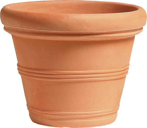 Blumentopf / Pflanztopf Liscio, mit doppeltem Rand, terracotta-farben, matt, 14 l Inhalt, für Innen und Außen, aus hochwertigem Polyethylen