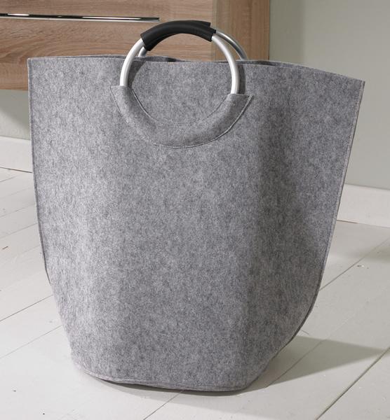 Designer Wäschetasche / Wäschesack aus Filz mit 2 Griffen, grau, B 60 x T 38 x H 60 cm