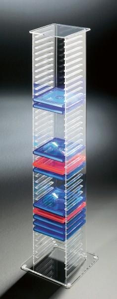 Hochwertiger Acryl-Glas CD DVD Ständer / CD DVD Regal, klar, 20 x 20 cm, H 101 cm, Acryl-Stärke 6 / 4 mm