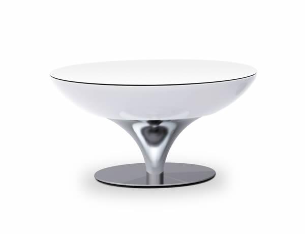 Moree Lounge Tisch / Beistelltisch, inkl. Glasplatte, Pro Akku, LED beleuchtet, Ø 84 cm, H 45 cm, ABS glänzend, weiß transluzent, Aluminium gebürstet, eloxiert, mit Vielfarben LED, mit Fernbedienung und Akku, für Innen